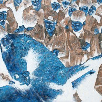 Thomas Michel, Blaues Pferd, Öl auf Leinwand, 2005, 130 x 180 cm