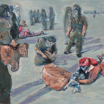 Thomas Michel, Die neuen Nomaden, Öl auf Leinwand, 1994, 125 x 180 cm