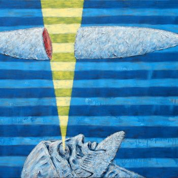 Thomas Michel, Wolke, von einem Auge zerschnitten, Öl auf Leinwand, 2004, 110 x 140 cm