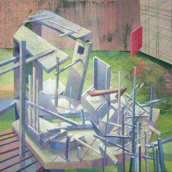 Teresa Casanueva, Concussion, 2017, Oil on Canvas, 80 x 80 cm